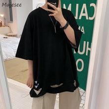Los hombres 5 Cuarto manga corta Camisetas agujero cuello liso Simple de moda Coreana de Baggy de gran tamaño 3XL Streetwear diario Casual acogedor suave