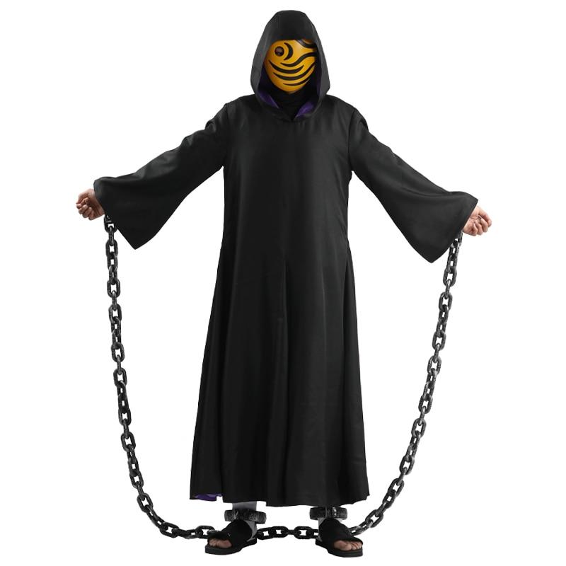 Costume de Cosplay Uchiha Obito Tobi, Robe longue noire, uniforme, cape, masque, chaîne, Costume d'halloween unisexe