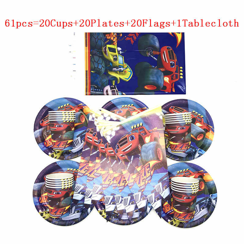 Feestartikelen 61/31Pcs Blaze En De Monster Machines Kids Servies Jongens Verjaardag Plaat Cup Vlag Tafelkleed Decoraties supply