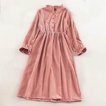 SINGRAIN Women Corduroy Dress Elegant Midi Long Solid Dress Long Sleeve Winter Holiday Romantic Party Dress Autumn A-Line Dress