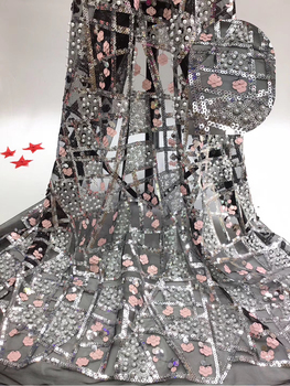 Nigerian wedding sequin lace fabric Africa France tulle lace fabric 2020 high quality lace fabric T3593