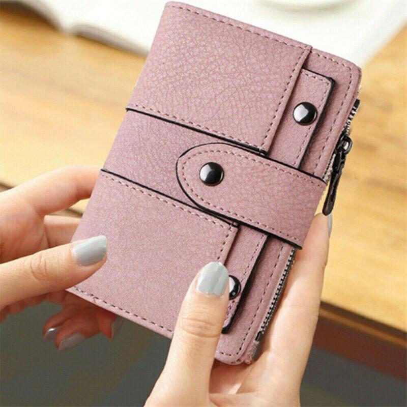 미국 여성 지갑 가죽 지퍼 동전 지갑 클러치 핸드백 작은 미니 카드 홀더 짧은 지갑 동전 ID 신용 카드 PU 핸드백