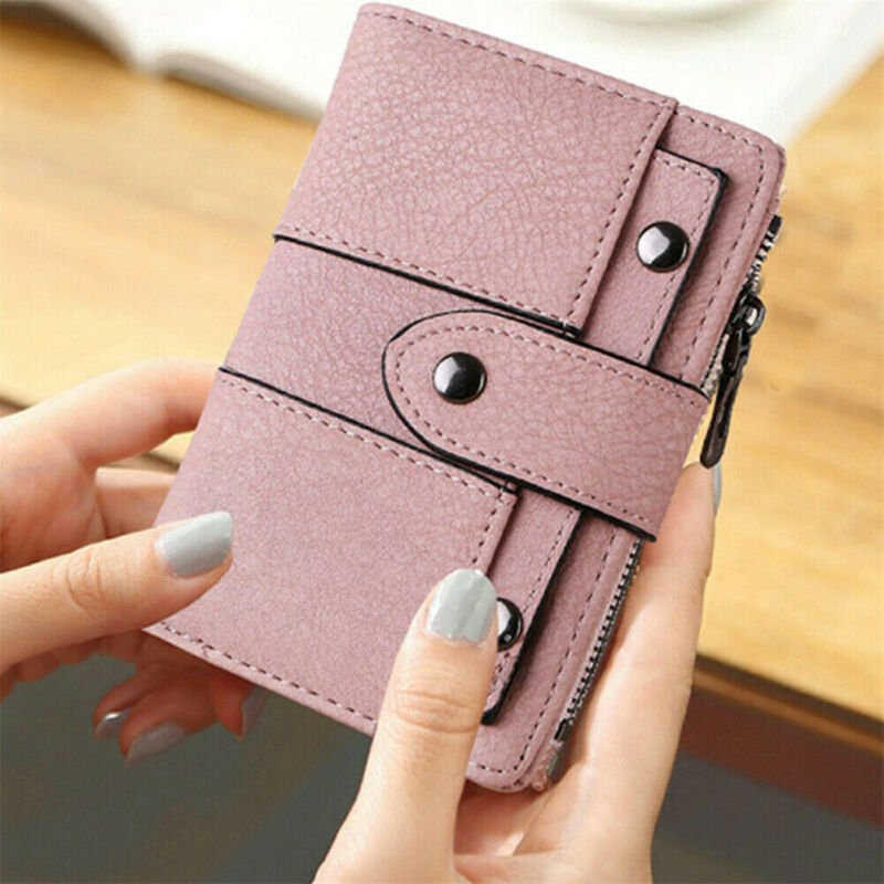 USA Women Wallet Leather Zip Coin Purse Clutch Handbag Small Mini Card Holder Short Purse Coin ID Credit Card PU Handbag