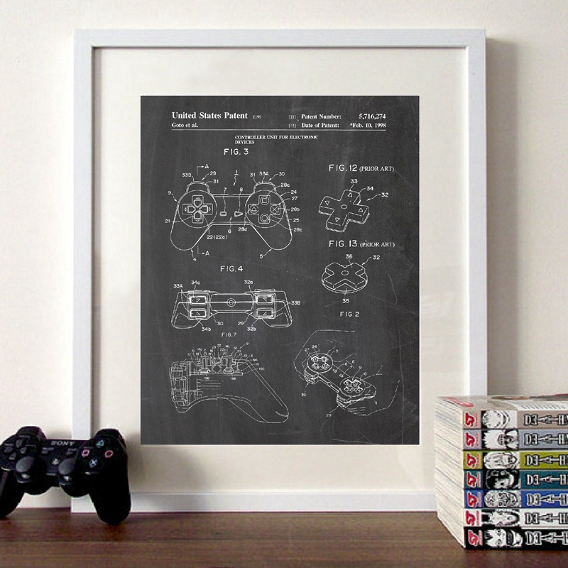 Video Game Patent Canvas Print Playstation Vintage Poster Boys Gifts Gaming Wall Art Pictures Painting Gamer Room Wall Decor