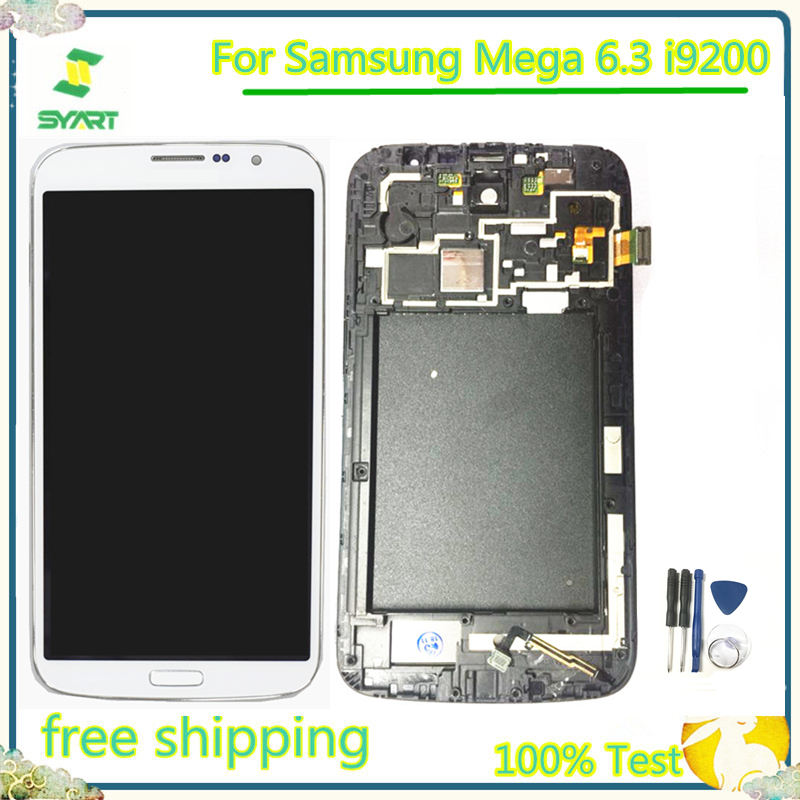 100% Tested LCD Display Touch Screen Digitizer Assembly Replacement Part For <font><b>Samsung</b></font> Galaxy Mega 6.3 <font><b>i9200</b></font> i9205 With Free Tools image