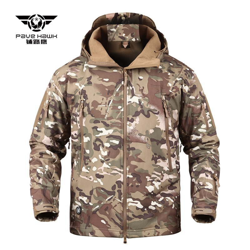 Outdoor Pro Man Military Tactical Hiking Jacket Lurker Shark Skin Softshell V5 Outdoor Hunting Coat Hooded Army Camo Outerwear