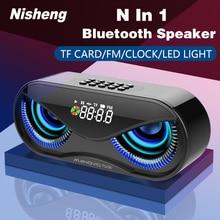 M6 Cool hibou conception Bluetooth haut parleur LED Flash sans fil haut parleur FM Radio réveil TF carte Support sélectionnez des chansons par numéro