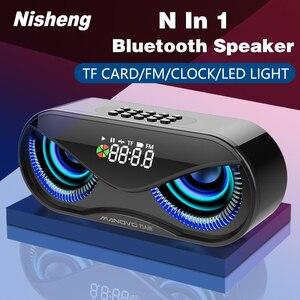 Image 1 - M6 Cool hibou conception Bluetooth haut parleur LED Flash sans fil haut parleur FM Radio réveil TF carte Support sélectionnez des chansons par numéro