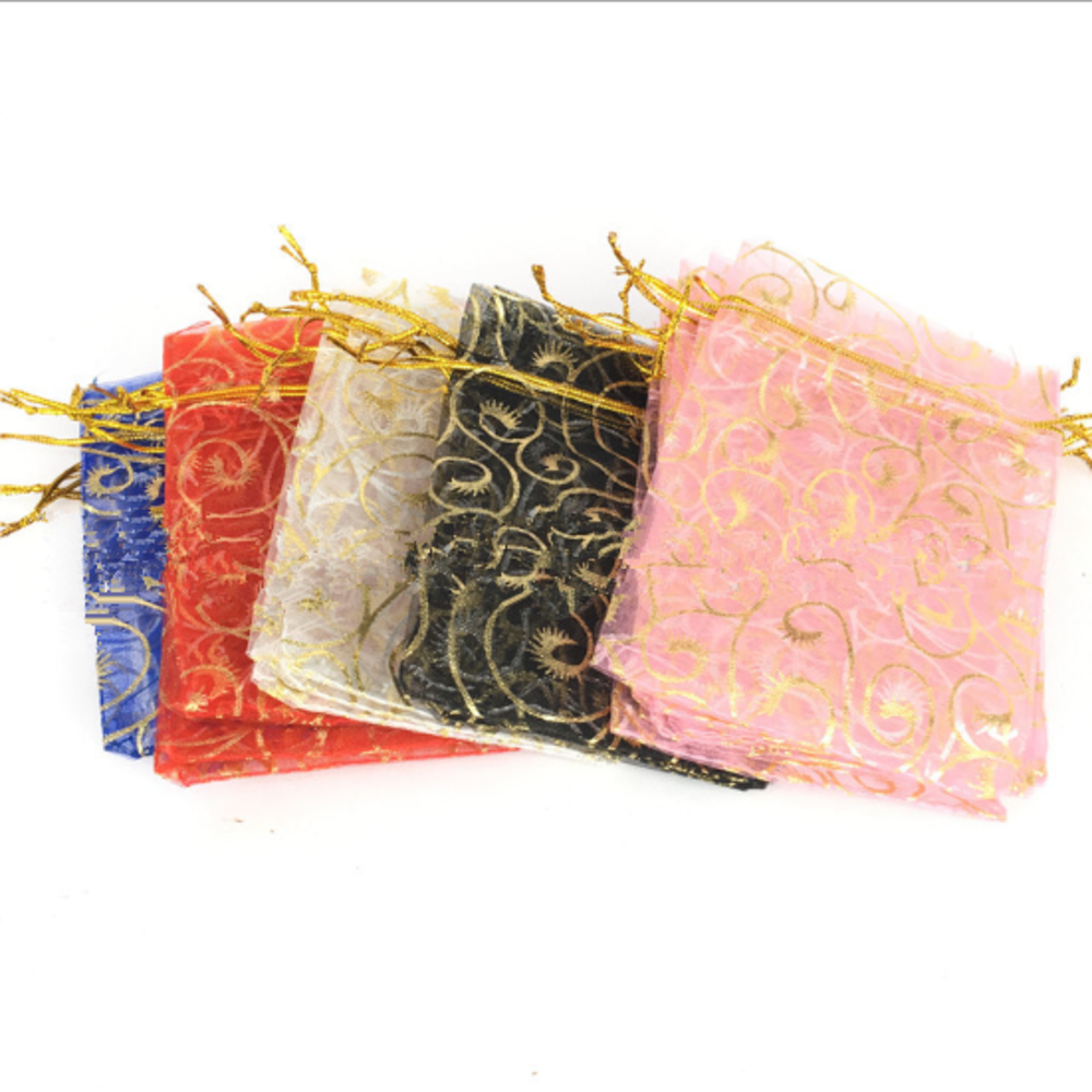 100pcs 9*12 Cm Color Bronzing Rose Heart Love Jewelry Packing Pearl Yarn Bags Wedding Gift Bags  Snow Yarn Bag Mesh Bag Eyelash