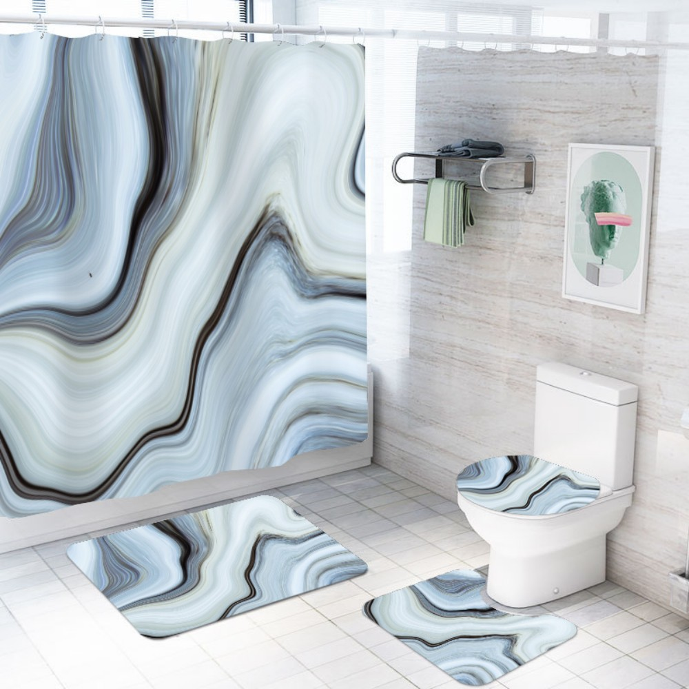4 Pieces Sets 3d Natural Marble Shower Curtain Sets With Bath Rug Toilet Lid Cover Floor Mat Durable Waterproof Bath Curtain Bathroom Accessories Sets Aliexpress