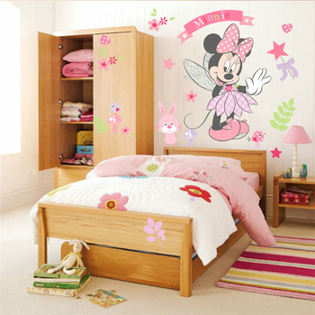 Disney Minnie Mouse Wall Stickers For Kids Baby Girls Rooms Nursery Home Decor Vinyl Cartoon Wall Decals Diy Mural Art 2