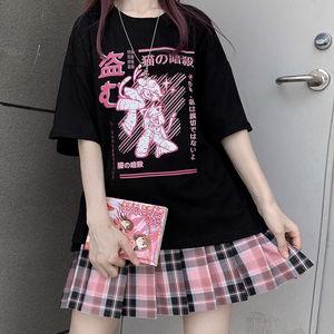 Aesthetic Camisas Mujer Harajuku T-Shirt Kawaii Ninja Cat Print Black Summer Korean pop Streetwear Women chic casual Tops Tees