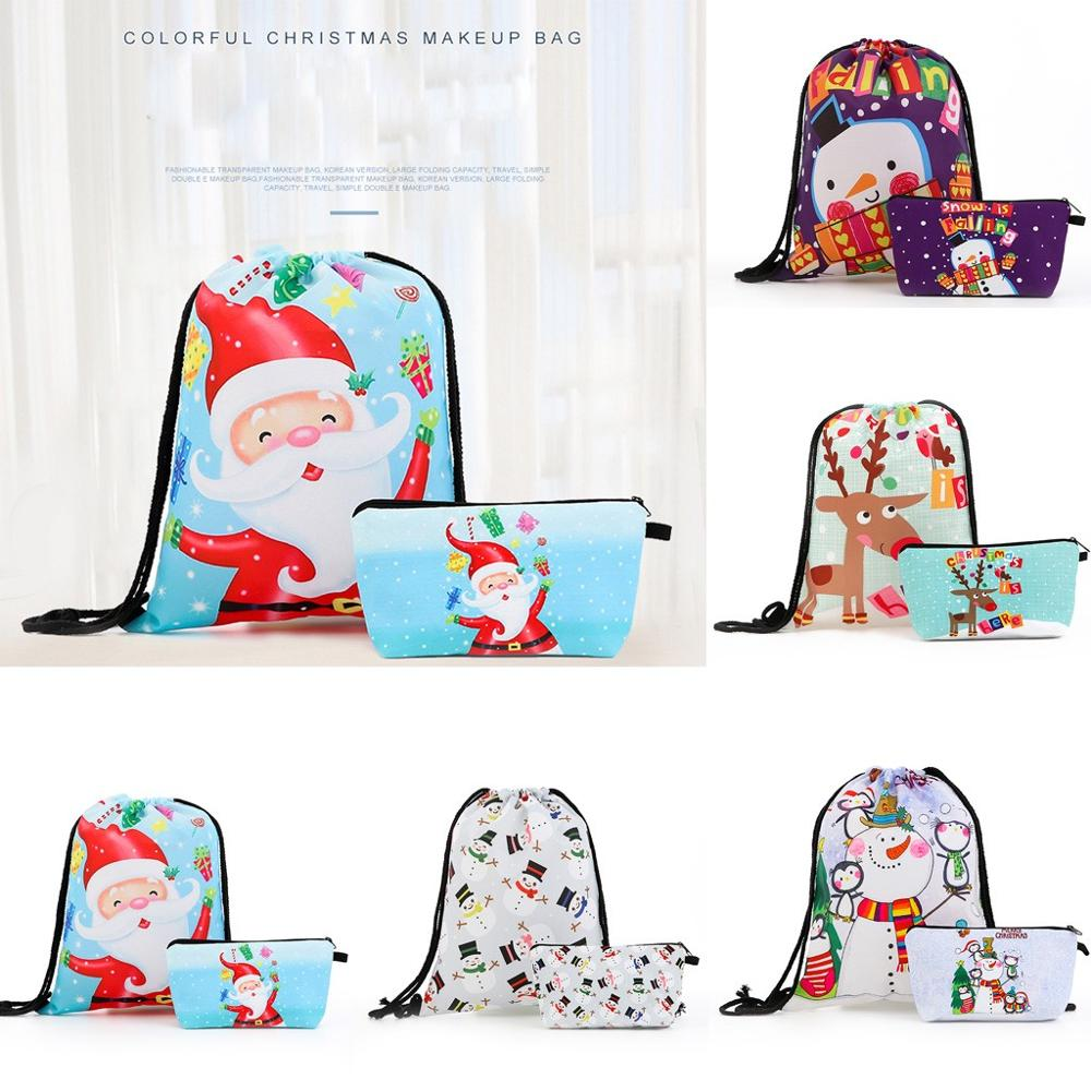 Merry Christmas Drawstring Bag Backpack Canvas Pouch Fashion Women's  Solid Color Large Capacity Candy Bag  #2N07