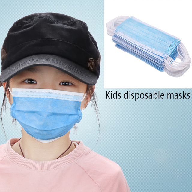 50pcs Kid Disposable Antivirus Mask Children Anti Virus  Flu Facial Face Mouth Mask Dust-proof Anti-fog Anti-Bacterial Mask
