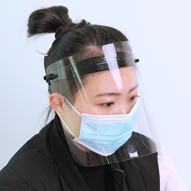 Transparent Full Face Shield Protection Mask Visor Anti-saliva Face Eyes Cover Transparent Mask Sheet Or Full Face Shield 2
