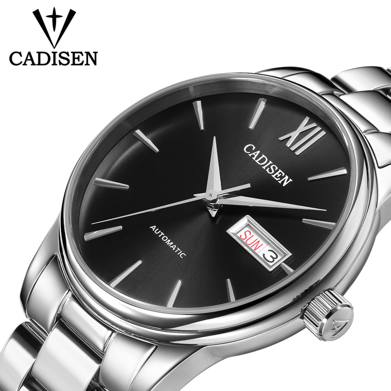 CADISEN Watch NH36A Mechanical Movt Watches Automatic Self-wind Stainless Steel Sapphire 5ATM Waterproof Business Men Wristwatch