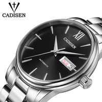 CADISEN-Reloj de movimiento mecánico NH36A para hombre, automático, de acero inoxidable, zafiro, 5ATM, resistente al agua, de negocios