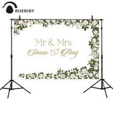 Allenjoy חתונה מותאם אישית רקע לבן עלה טבעת אישית זוג שם מר וגברת אירוסין הזמנה רקע שיחת וידאו