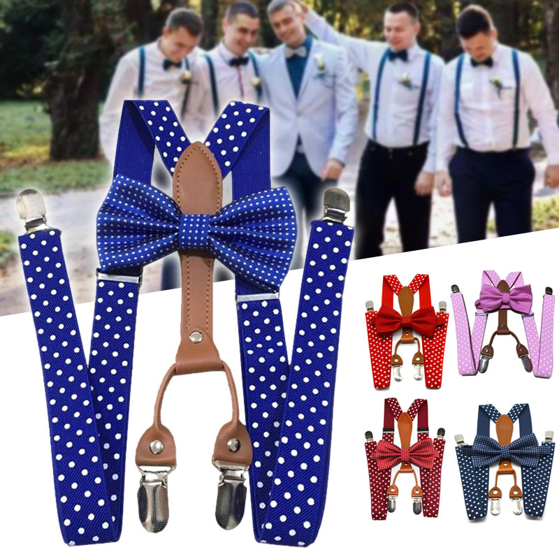 Men Women Polka Dot Fashion Solid Color Tie Suspenders 4 Clips Leather Suspensorio Braces Wedding Groom Party  D88