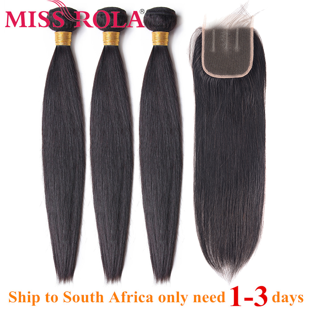 Miss Rola Hair Straight Peruvian Hair Bundles With Closure 100% Human Hair Natural Color Non-Remy Hair 3 Bundles With 4*4Closure