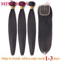 Miss Rola cheveux cheveux péruviens droits paquets avec fermeture 100% cheveux humains couleur naturelle Non-Remy cheveux 3 paquets avec fermeture 4*4