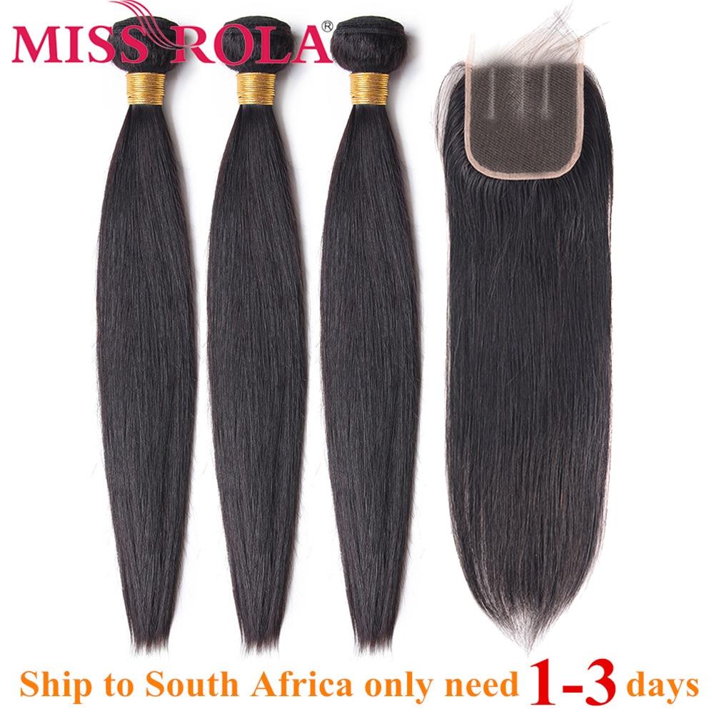 Miss Rola Hair Straight Peruvian Hair Bundles with Closure 100% Human Hair Natural Color Non-Remy Hair 3 Bundles with 4*4Closure