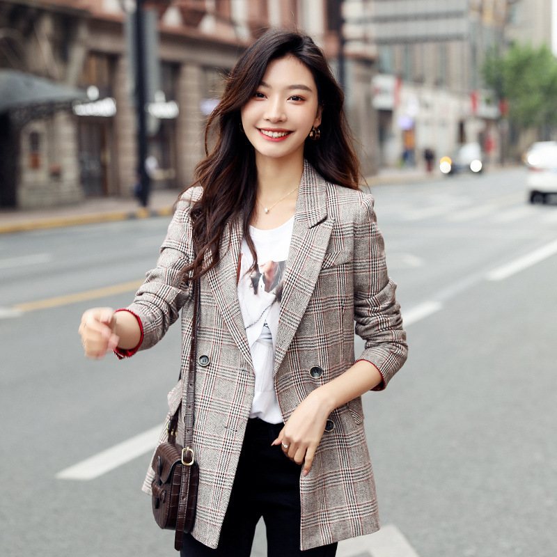Temperament Women's Jacket High Quality 19 New Casual Double-breasted Long-sleeved Plaid Ladies Blazer Autumn Vintage Office Top