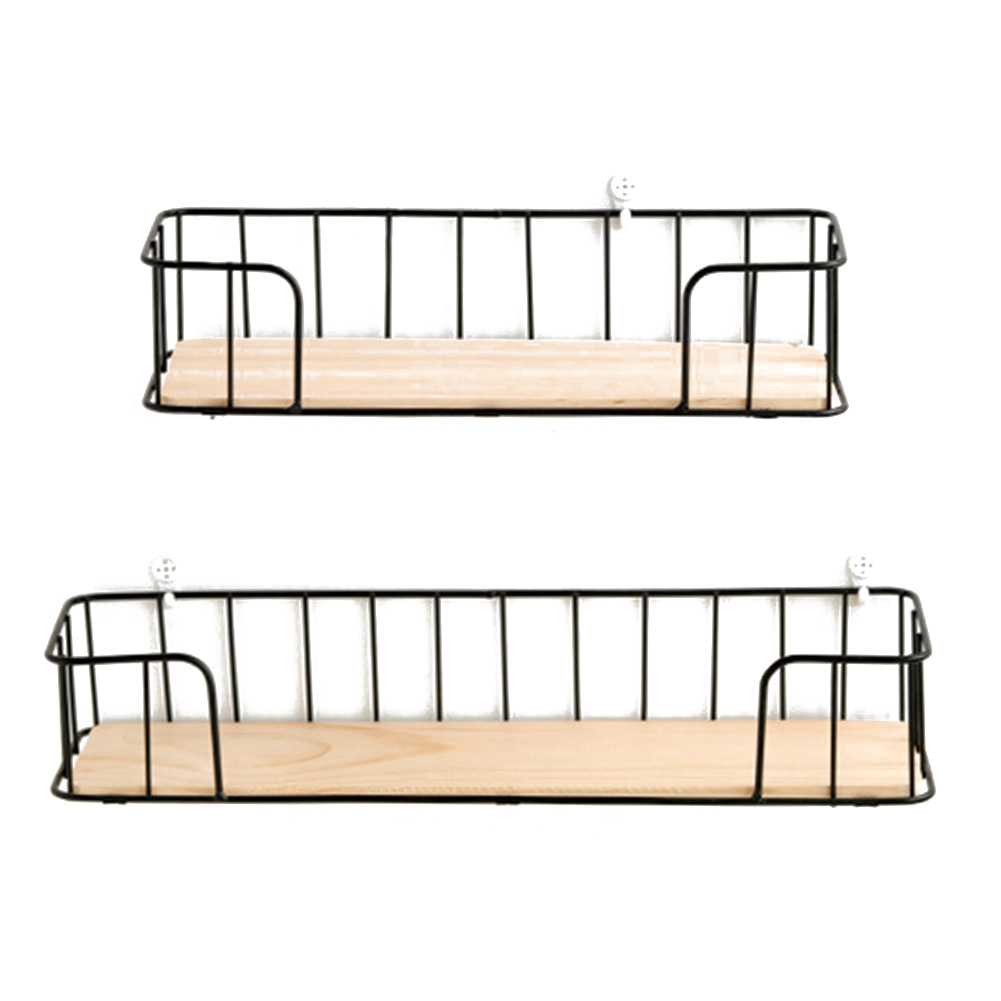 Iron Wooden Wall Shelf Living Room Kitchen Wall Decoration Storage Rack Home Wall Hanging