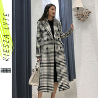 Women Long Wool Coat Black And White Loose WarmTartan Plaid Woolen Jacket 2019 Winter Female Overcoats Outwear High Quality
