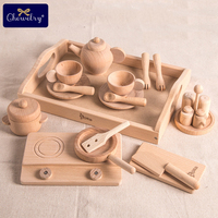 Wooden Kitchen Toys Beech Tea Pots Set Pretend Play Baby Toys For Kids Gift Wooden Cutlery Wooden Toddler Kitchen Kids Products