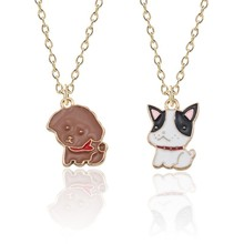 2019 Cartoon Dog Necklaces For Pet Lovers Cute Colorful Enamel Animal Pendant Women Girls Lovely Jewelry Kids Gifts