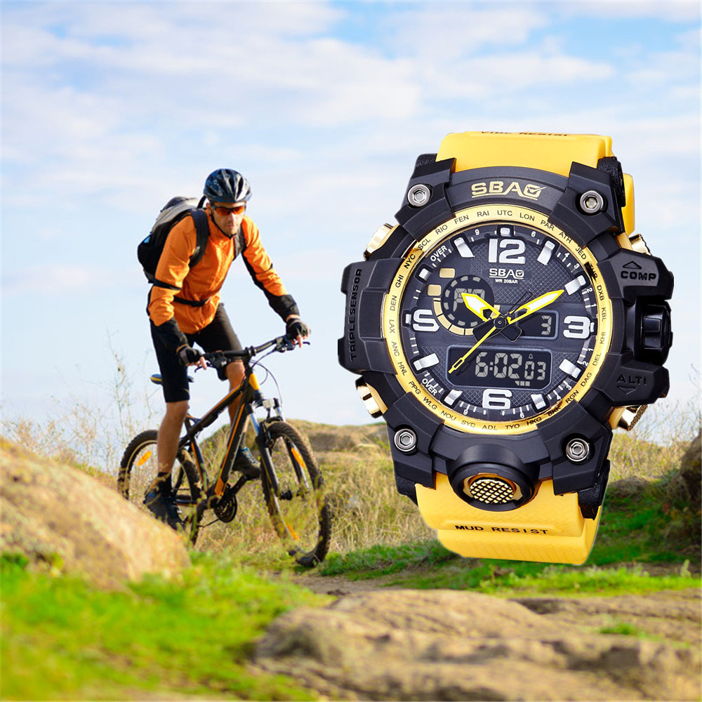 SBAO Electronic Watch Luxury Brand LED Men Waterproof Sports Watches Shock Digital Wrist Watches 2020 Gift Relogio Masculino