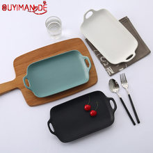 Japonês simples binaural baking pan utensílios de mesa cerâmica do agregado familiar retangular placa de jantar microondas como resistente ao calor