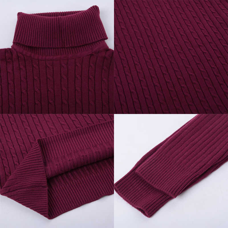 DIHOPE 봄 따뜻한 터틀넥 스웨터 남자 패션 솔리드 니트 남성 스웨터 남성 더블 칼라 슬림 풀오버