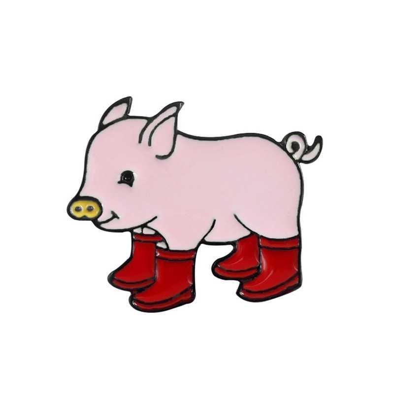 Piggy broş BadgeFun domuz yağmur çizmeleri emaye pimleri Denim kot yaka Pin karikatür sevimli hayvan figürlü mücevherat çocuklar arkadaşlar için hediye