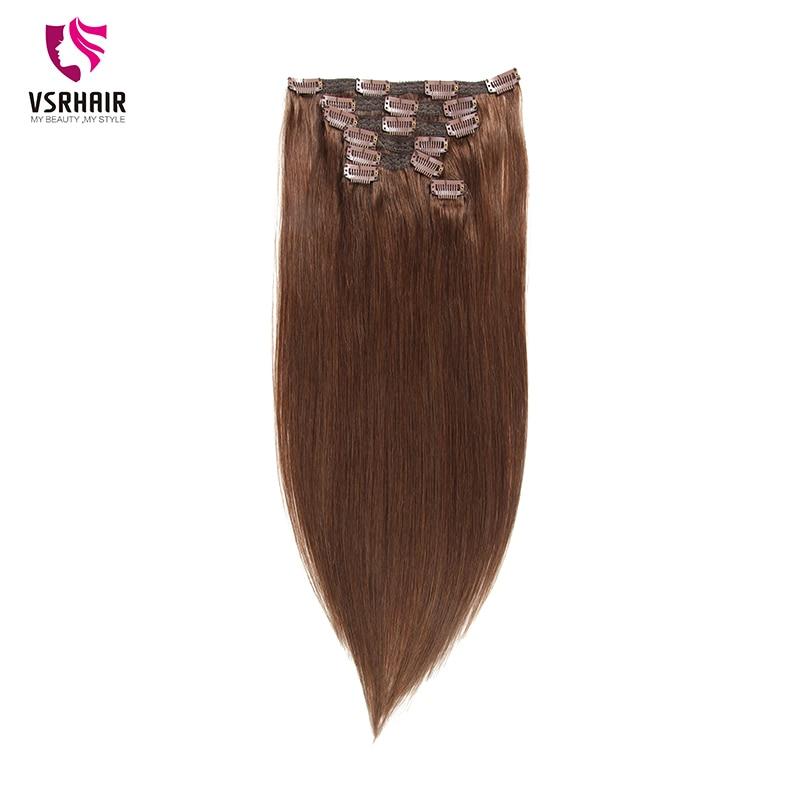 VSR 100g 120g Machine Remy Clip In Hair 7 Pcs Straight Indian Hair 100 Human Hair Extensions No Tangle & Split  Full Head Set