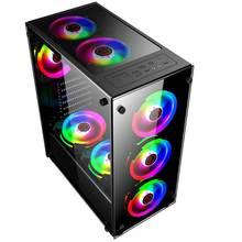 Desktop Transparent Glas Gaming Computer PC Fall Gamer Kühlung Für ATX/ m-atx/mini-itx Motherboard unterstützung 8 Fans 350x290x410mm