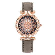 Luxury Women Watches Bracelet Set Flower Ladies Bracelet Watch Rhinestones Leather Quartz Wristwatch Clock Gift Relogio Feminino(China)