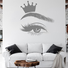 Crown Eyelash Decals Eyelashes Art Window Vinyl Sticker Beauty Salon Women Girl Lashes Eyebrows Brows Decal Murals E303 art wall sticker lashes salon eyelashes decor vinyl removeable beauty salon decoration make up extensions eyebrows decal ly265
