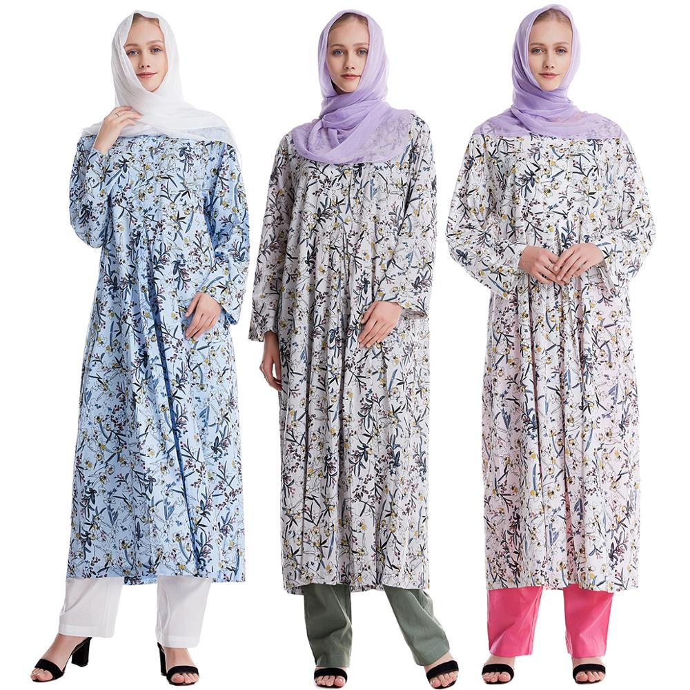 SELX Men Middle Eastern Muslim Abayas 2 Pieces Outfits Long Sleeve Islamic Set