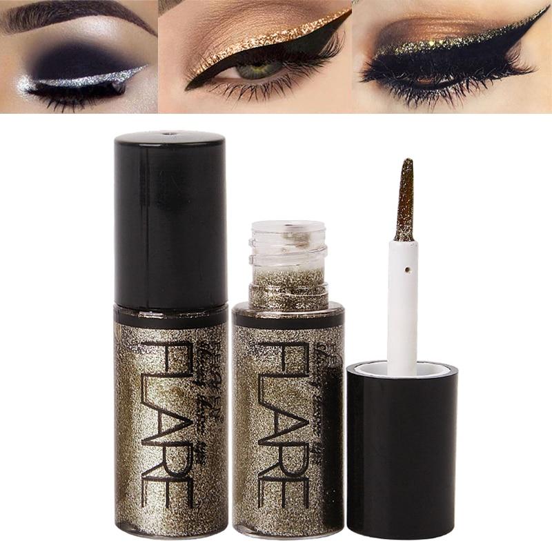 1pcs Colorful Liquid Glitter Eyeliner Shiny Eye Liners Women Eye Pigment Korean Makeup Cosmetic Waterproof Silver Rose Gold