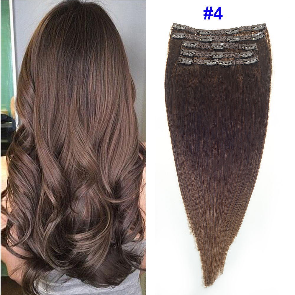 Sindra Remy Straight Clip In Human Hair Extensions 14''-22inch 100% Human Hair Clips In Hair Extensions Color 4