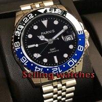 40mm PARNIS zwarte wijzerplaat bezel Jubilee Bracele Sapphire crystal datum Groen GMT automatic mens watch Mechanische horloges-in Mechanische Horloges van Horloges op