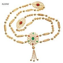 Yeni moda stil fas düğün omuz takı kadınlar için altın içi boş desen Rhinestone takı sutyen
