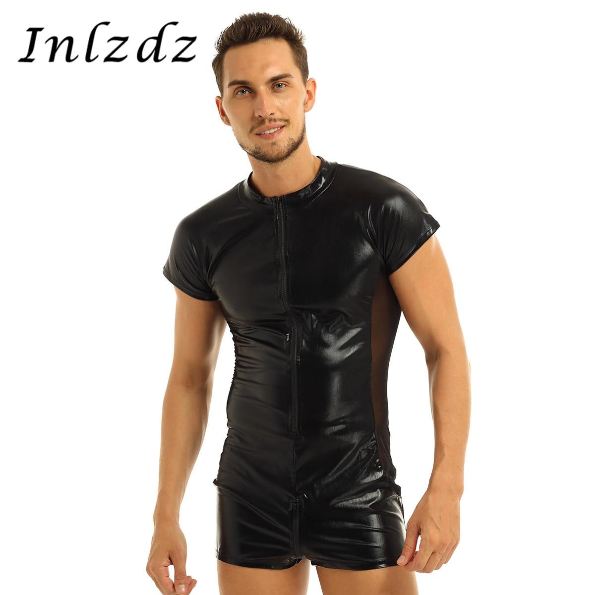 Herren Latex Body Patent Leder Trikot Body Front Zipper Dessous mit Mesh Seite Boxer Shorts Sex Kostüm Homosexuell Body