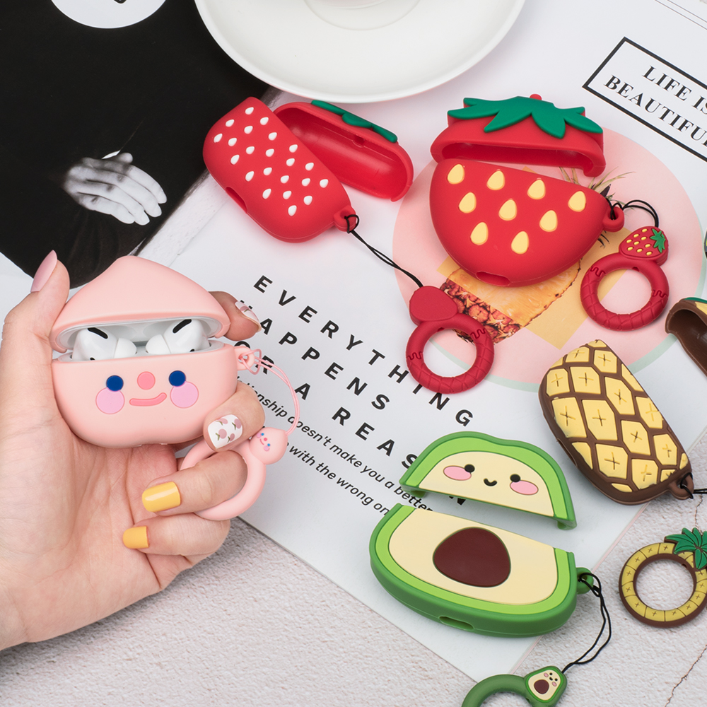 Cartoon Cute Avocado Earphone Case For AirPods Pro Earphone Capa For Airpods Pro Silicone Charging Headphone Case Protector