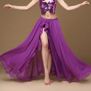 Image 4 - Falda larga de satén para mujer, falda Sexy Oriental para danza del vientre, profesional, 2019