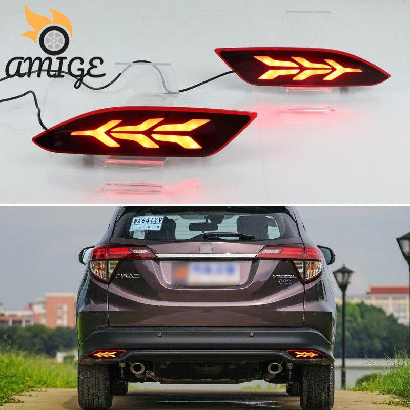 AMIGE Auto LED Stoßstange Lichter Für Honda HRV HR-V 2015 2016 2017 2018 2019 Hinten Nebel Lampe Bremse reflektor Blinker Rücklicht