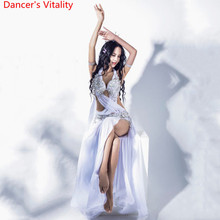 ผู้หญิงBelly Danceการแข่งขันชุดที่กำหนดเองลูกปัดBra Robbon Big HemกระโปรงOrientalอินเดียเต้นรำเครื่องแต่งกาย