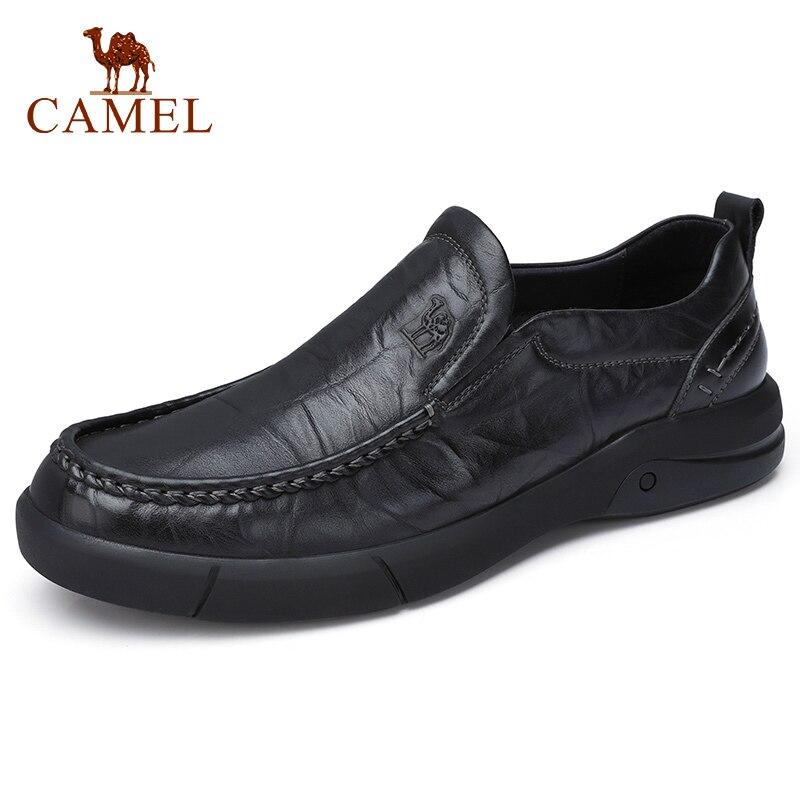 Zapatos casuales de hombre de tendencia de CAMEL mocasines de cuero genuino de ocio diario de negocios británico calzado suave de alta elasticidad de fondo Mocasin-in Zapatos informales de hombre from zapatos    1